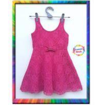 Vestido de festa em Renda e laço - (Pink) (Cód. 166) - 5 anos - Não informada e sem etiqueta