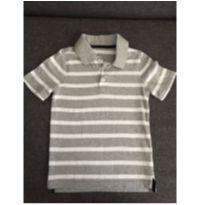 Blusa Polo Listrada Cinza e Branca - 5 anos - Old Navy