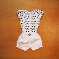 Conjunto Body+short - 9 a 12 meses - Anjos baby