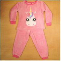 Pijama Puket Rosa Unicórnio Fleece 4 anos - 4 anos - Puket