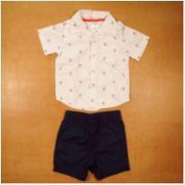 Conjunto Camisa e Bermuda 18 meses Carter`s Semi Novo - 18 meses - Carter`s