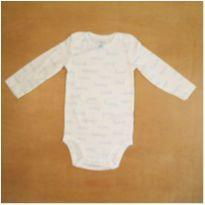 Body Infantil Manga Longa Branco e Azul Carter`s 9 meses Novo - 9 meses - Carter`s
