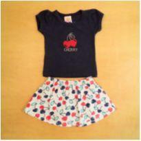 Conjunto Camiseta e Short Saia Cereja Nina 3 meses - 3 meses - Nina