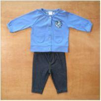 Conjunto Azul Manga Longa e Calça Carter`s 3 meses - 3 meses - Carter`s