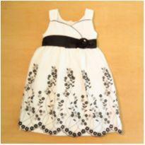 Vestido Cetim Branco e Preto Jayne Copeland 18 meses - 18 meses - Jayne Copeland