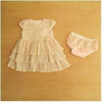 Vestido Plissado Rosa e Dourado 6-9 Meses Paraíso - 6 a 9 meses - Outro