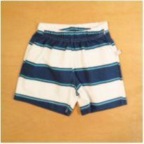 Short Azul e Branco Hering 6-9 meses - 6 a 9 meses - Hering