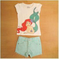 Conjunto Ariel Pequena Sereia Camiseta e Short Baby Club 1 Ano - 1 ano - Baby Club