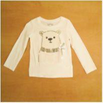 Camiseta Manga Longa Branca Urso 2 Anos Oshkosh B`gosh - 2 anos - OshKosh
