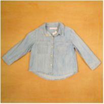 Camisa Manga Longa Jeans 9-12 Meses Pituchinhu`s - 9 a 12 meses - Pituchinhus