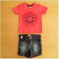 Conjunto Camiseta e Short Jeans 1 Ano Glinny Novo com Etiqueta