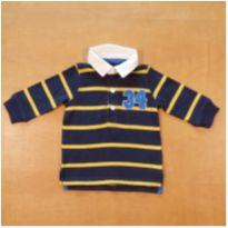 Camiseta Polo Manga Longa Azul Carter`s 6 Meses - 6 meses - Carter`s
