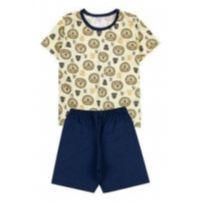 Pijama Amarelo e Azul Leão 2 Anos Novo com Etiqueta Kappes - 2 anos - Kappes Confecções