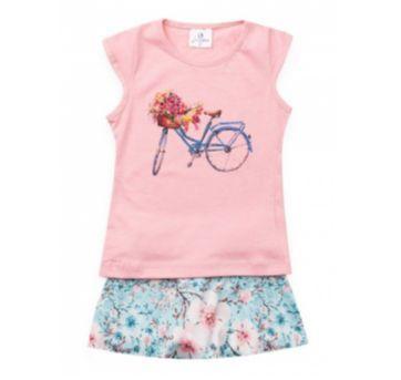 Conjunto Infantil com Short Saia Bike Rosa 8 Anos - 8 anos - La Luna