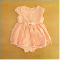 Vestido com Body Rosa Paraíso 6 Meses - 6 meses - Sem marca