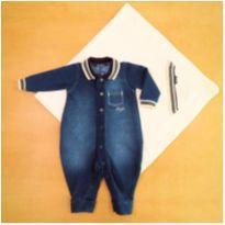 Saída de Maternidade: Macacão Jeans com Manta 0-3 Meses Paraíso - 0 a 3 meses - Paraíso