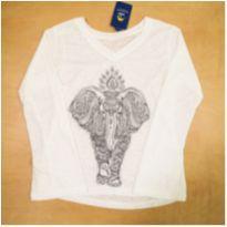 Camiseta Manga Longa Boca de Sino Elefante 12 anos - 12 anos - Sem marca