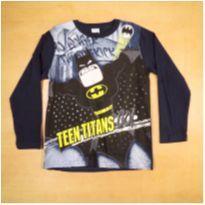 Camiseta Manga Longa Azul Batman Licenciados Romitex 8 Anos - 8 anos - Romitex