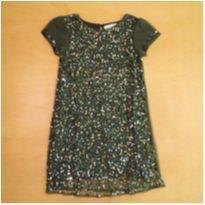 Vestido com Paetê Verde Zara 5/6 Anos - 5 anos - Zara