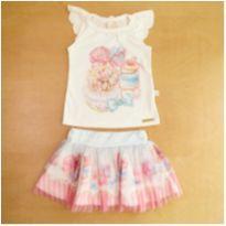 Conjunto Infantil Kiki Xodó Camiseta e Saia Rosa 1 Ano - 1 ano - Kiki Xodó