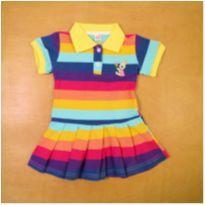 Vestido Polo Colorido Arco Íris 12-18 Meses - 12 a 18 meses - sem etiqueta
