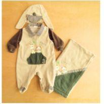 Saída de Maternidade: Macacão Com Manta + Gorro Recém Nascido - Recém Nascido - Sem marca