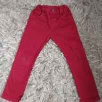 Calça sarja infantil skinny com bolsos vermelha