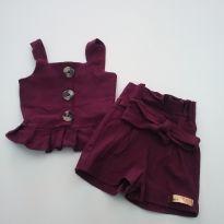 0530- Conjunto Mini Diva - Tamanho P - veste de 3 a 6 meses - 3 a 6 meses - Kids