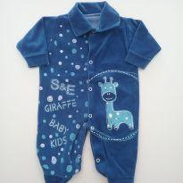 Macacão com pé - Tecido Plush - Tam P - 0 a 3 meses - Baby