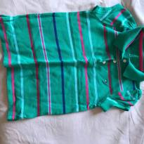 Camisa pólo da Tommy verde com listras - 4 anos - Tommy Hilfiger