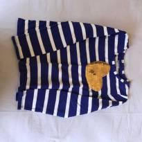 Camiseta listrada manga longa com coração bordado dourado - 4 anos - OshKosh