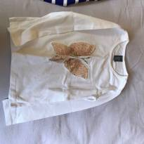 Camiseta off-white com borboleta bege de lantejoulas - 4 anos - Zara