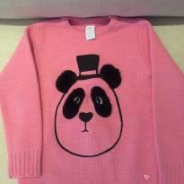 Blusa de lã rosa com urso bordado - 6 anos - Cheeky