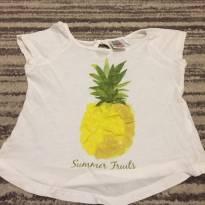 Camiseta branca fininha com desenho de abacaxi com tecido aplicado - 18 a 24 meses - Zara