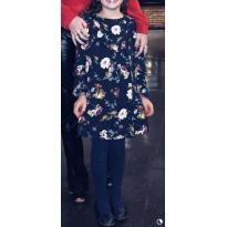 Vestido florido com fundo azul marinho de tecido fino e leve - 7 anos - Zara