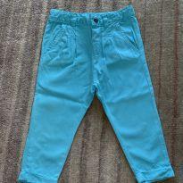 Calça de sarja fininha verde água - 12 a 18 meses - Zara