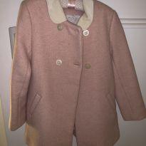 Sobretudo / blaizer de lã rosa claro com gola offwhite - 8 anos - Little Akiabara