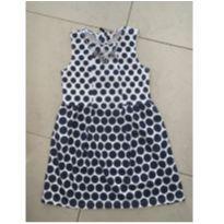 Vestido branco com bolinhas azul marinho - 8 anos - Le Lis Blanc Petit
