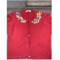 Cardigan vermelho com bordado - 8 anos - MIxed Kids