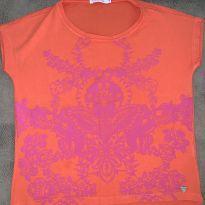 Camiseta laranja com aplicações em rosa - 8 anos - Le Lis Blanc Petit