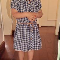 Vestido xadrez com forro delicado lindo e cintinho - 18 a 24 meses - Zara