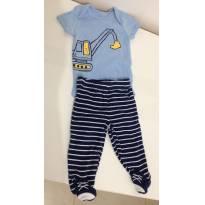 5A - Conjunto: body manga curta + calça com pé (escavadeira) carters - Recém Nascido - Carter`s