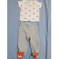 8A - Calça com pé raposa + blusinha com várias raposas carters - Recém Nascido - Carter`s
