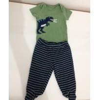 7A - Conjunto: body manga curta + calça com pé (tiranossauro rex) carters - Recém Nascido - Carter`s