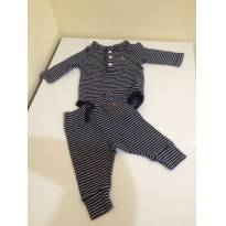 15A - Conjuntinho baby GAP listrado de azul marinho e branco - 0 a 3 meses - Baby Gap