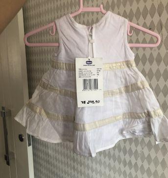 Vestido Chicco Branco Batizado - 0 a 3 meses - Chicco