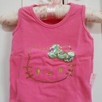 Camiseta Regata Menina Hello Kitty Lantejoulas Tamanho M - 3 a 6 meses - Hello  Kitty