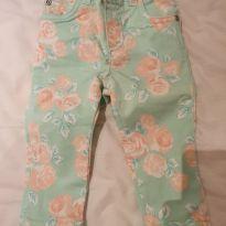 Calça sarja floral Carter`s - 9 a 12 meses - Carter`s