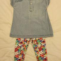 Conjunto blusa jeans e legging floral - 9 a 12 meses - Carter`s