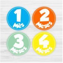 Adesivos Mesversário 1-12 Meses Bebê Colorido Menino -  - Não informada